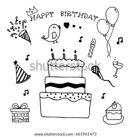 Happy Birthday Hand Drawn Doodle Set Stock Vector 661961473