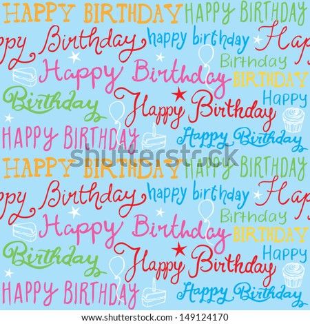 Happy birthday handwritten background pattern vector - stock vector
