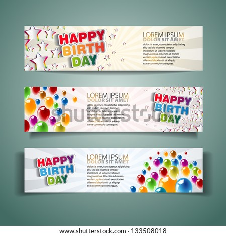 Happy Birthday Holiday banners with colorful balloons and stars - Vector illustration