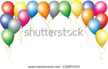 Happy birthday holiday border of colorfull balloons - stock vector