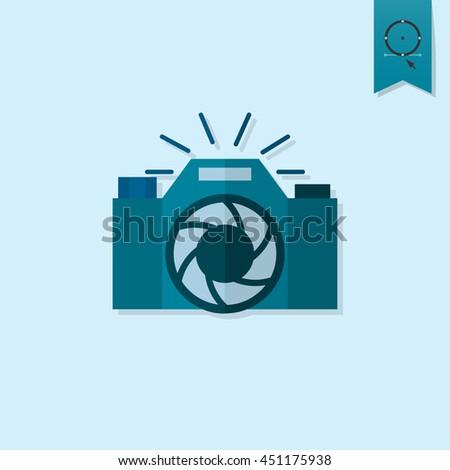 Happy Birthday Icon. Retro Camera. Simple, Minimalistic and Flat Style. Monochrome color. Vector - stock vector