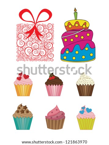 Happy birthday icons over white background vector illustration - stock vector