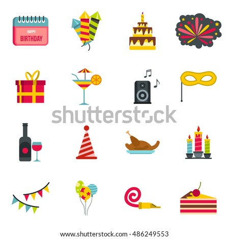 Happy Birthday icons set in flat style. Party and celebration elements set collection vector illustration