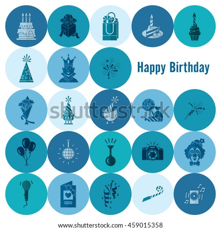 Happy Birthday Icons Set. Simple, Minimalistic and Flat Style. Monochrome color. Vector - stock vector