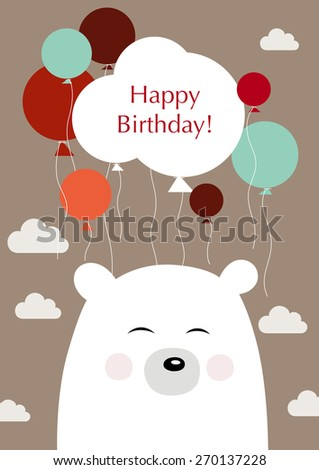 Happy birthday! Illustration of a birthday greetings from bear - stock vector