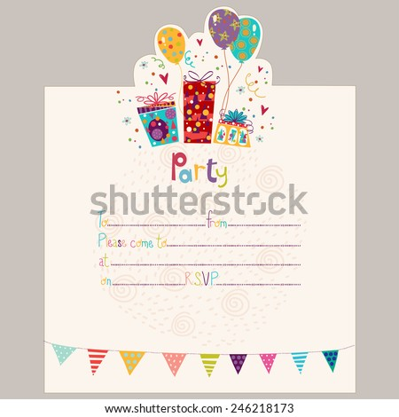 Happy birthday invitationbirthday greeting card gifts stock vector happy birthday invitationrthday greeting card with gifts and balloons in bright colors sweet stopboris Gallery