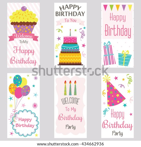Happy birthday invitation cardbirthday greeting cardwelcome stock happy birthday invitation cardrthday greeting cardwelcome birthday party cakecup stopboris Image collections