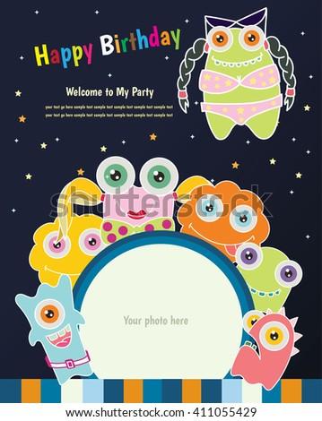 Happy birthday invitation card designmonster stock vector 411055429 happy birthday invitation card designnster stopboris Choice Image