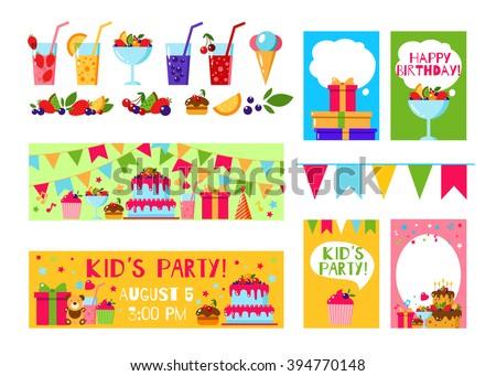 Happy Birthday Invitation Card Flat Vector Stock Vector 394770148