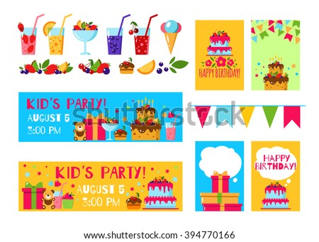 Happy birthday invitation card flat vector stock vector 394770166 happy birthday invitation card flat vector kids invitation kids party background with lemonade stopboris Gallery