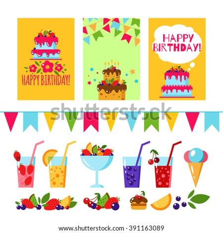 Happy birthday invitation card flat vector stock vector royalty happy birthday invitation card flat vector kids templates design for party background with cake stopboris Images