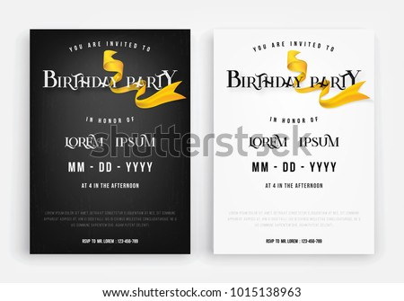 Happy birthday invitation card anniversary invitation stock vector happy birthday invitation card or anniversary invitation card template design and ribbon on black and white stopboris Gallery