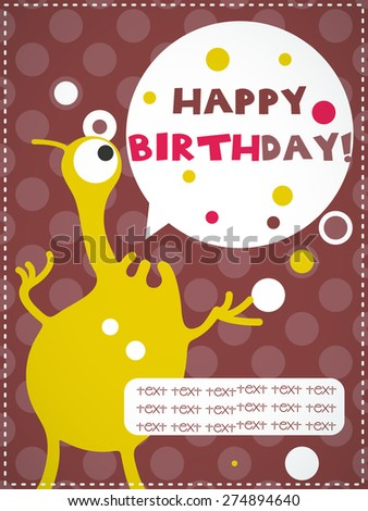 Happy birthday invitation card with cute monster, vector illustration - stock vector