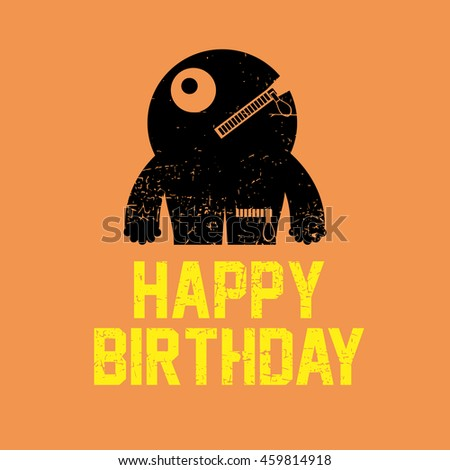 Happy birthday invitation card with cute monster vector illustration