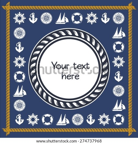 Happy birthday invitation nautical card - stock vector