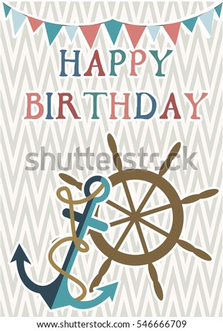 Happy birthday invitation greeting card template stock vector happy birthday invitation or greeting card template with nautical elements vector illustration filmwisefo