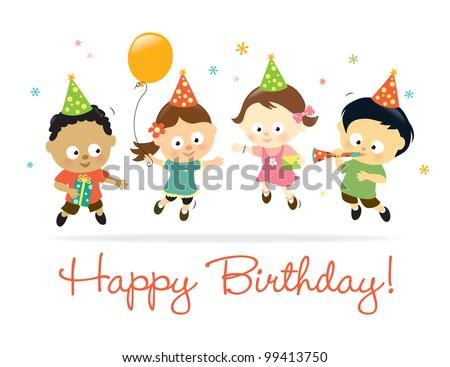 Happy Birthday kids - stock vector