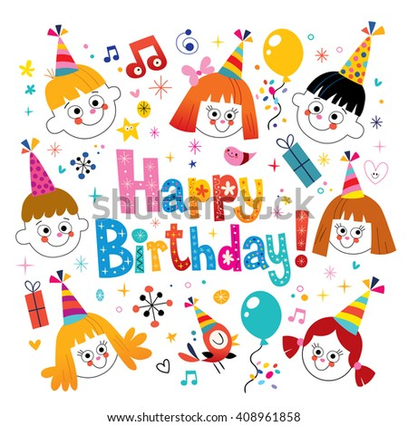 Happy Birthday kids greeting card - stock vector