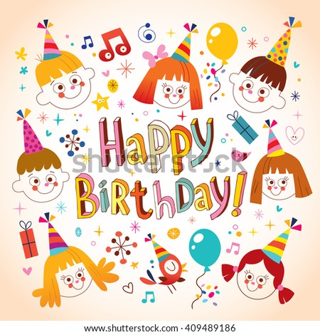 Happy birthday kids greeting card stock photo photo vector happy birthday kids greeting card bookmarktalkfo Image collections