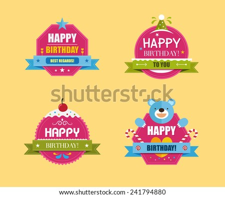 Happy Birthday Labels Collection, Vector illustration - stock vector