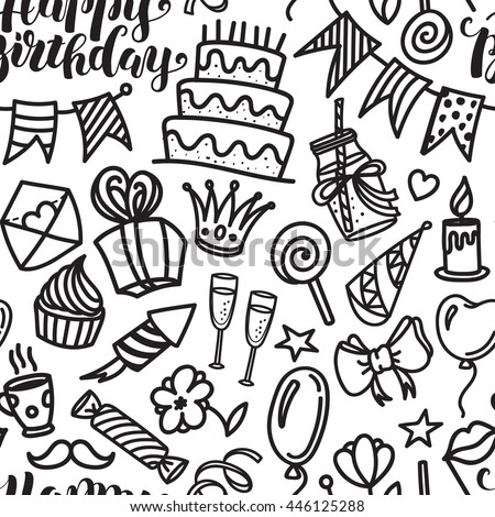 Happy birthday lettering and doodle seamless pattern. Vector illustration on white background. Funny pattern made of sketched birthday party objects - stock vector