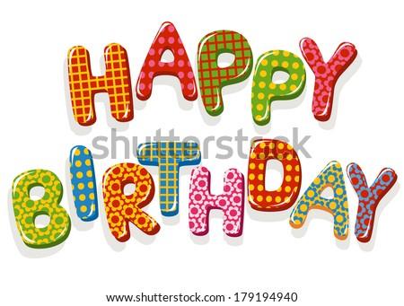 Happy Birthday letters - stock vector