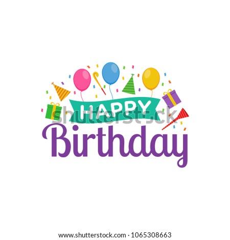 Happy Birthday Logo Design Vector Greeting Stock Vector Hd Royalty