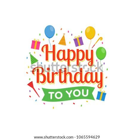 Happy Birthday Logo Design Vector Greeting Stock Vector 1065594629