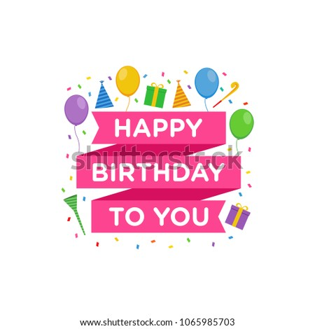 Happy Birthday Logo Design Vector Greeting Stock Vector 1065985703