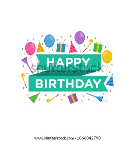 Happy Birthday Logo Design Vector Greeting Stock Vector Royalty