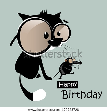 Happy Birthday mouse with a cat smile - stock vector