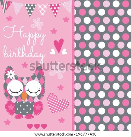 Happy birthday owl vector illustration - stock vector