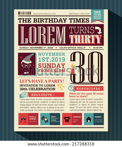 Happy Birthday Party card vector design layout in newspaper style - stock vector