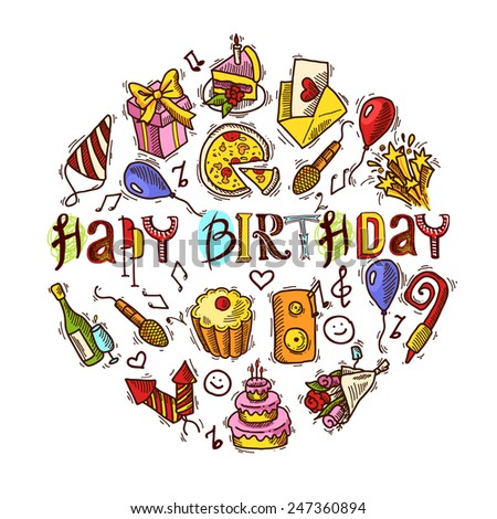 Happy birthday party celebration colored decorative elements set in circle shape vector illustration