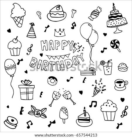 Happy Birthday Party Elements Vector Set Stock Vector 657544213