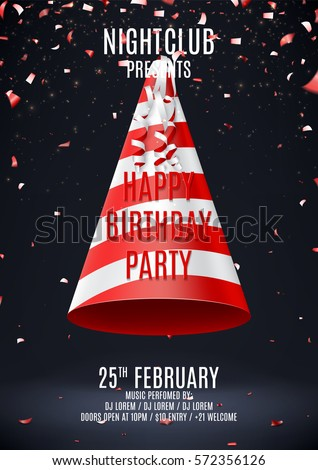 Happy Birthday Party Flyer Beautiful Backdrop Stock Vector 572356126