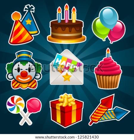 Happy birthday party icons. - stock vector