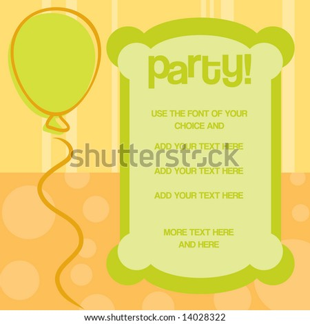 Happy Birthday party invitation in bright citrus colors. Casual fun balloon and unique frame for copy space; add your own text. Vector. - stock vector