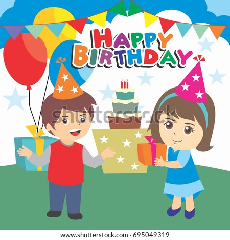 Happy Birthday Party Kids Boy And Girl Cartoon Illustration Design Template