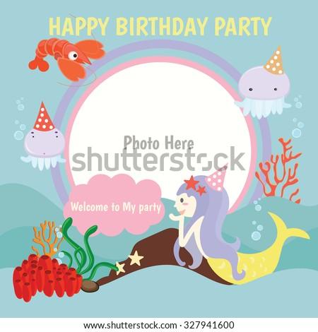 Happy birthday party,kids,Vector logo template , mermaid - stock vector