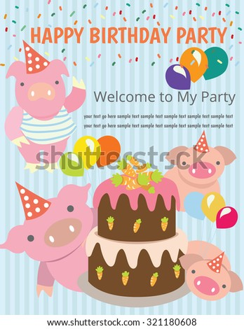 Happy birthday party,kids,Vector logo template, pig ,carrot cake - stock vector