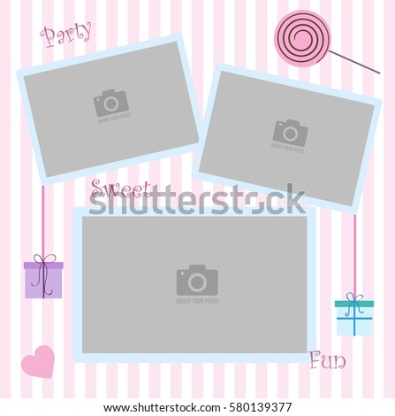 Happy Birthday photo frame and postcard. Decorations for birthday party. Pink and white stripe background vector. Template for children's photo album or postcard