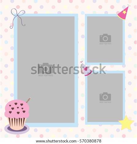 Happy Birthday photo frame and postcard with a celebratory cap and cupcake. Colorful polka dots in pastel colors background vector. Template for children's photo album or postcard.