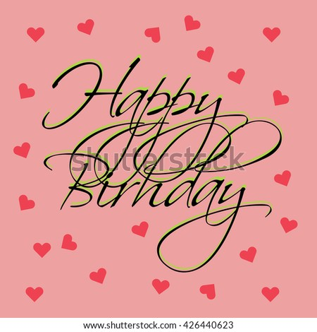 Happy Birthday Post Card On Pink Stock Vector 426440623 Shutterstock