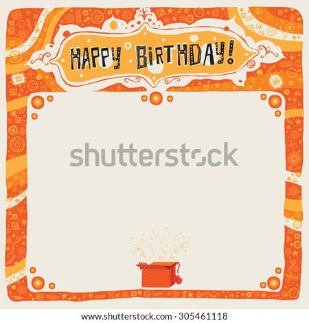 Happy Birthday postcard, poster, background, ornament or invitation - stock vector