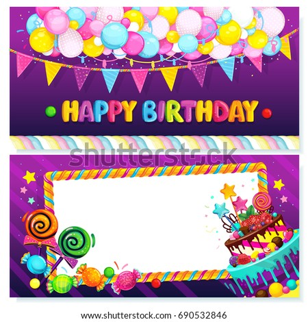 Happy birthday postcard vector festive illustration stock vector happy birthday postcard vector festive illustration of balloons flags and sweets and frame bookmarktalkfo Image collections