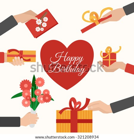 Happy birthday presents giving and receiving hands flat pictogram composition with heart symbol abstract vector isolated illustration - stock vector