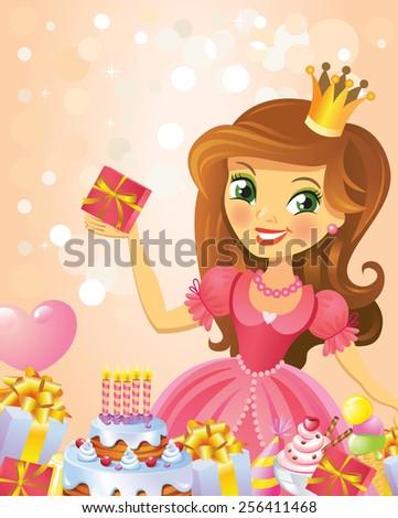 Happy Birthday, Princess, greeting card.  - stock vector