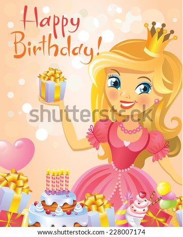 Happy Birthday, Princess, greeting card. Illustration of beautiful princess keeping a gift on a hand. Possible to use as party invitation, greeting card, banner. Vector illustration.  - stock vector
