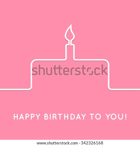 Happy birthday retro postcard with cake. Vector illustration for your holiday presentation. Postcard picture in vintage color. Web icon for background. Line style. Border for web page or presentation. - stock vector